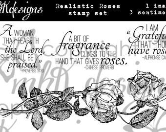 Realistic Roses Digital Stamp Set