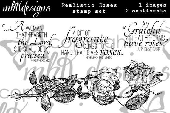 Realistic Roses Digital Stamp Set