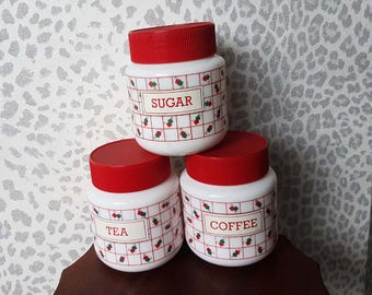 Vintage 70s Milk Glass White & Red Set of 3 Coffee Tea am]dn Sugar Caddy Canister Set Jars