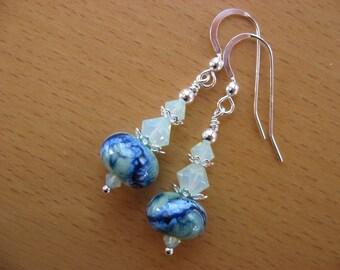 15% OFF SALE, Lampwork Earrings, Storm on Sea, Ocean Waves, Lampwork Ocean Earrings, Green White Royal Blue, Handmade Lampwork, Sea Colors