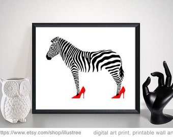 Zebra in pink and red high heels, digital art print, printable wall art, digital print set, fashion print, home decor, instant download