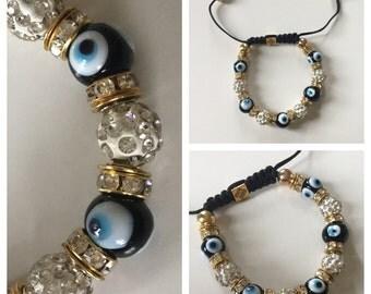 Black Bead Turkish Evil Eye Bracelet Adjustable Good Luck Bracelet
