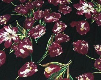 "Printed silk fabric with Purple tulip style-yel - 1.45 m wide x 1 m(57""x39"")"