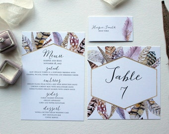Watercolor Feather & Geometric Bohemian Wedding Reception Suite, Menu, Table Number and Place Card: DCo Lovenotes