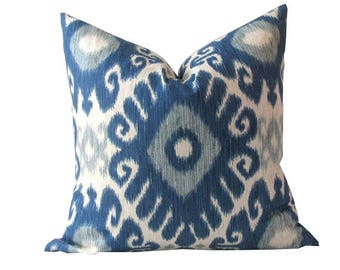 Two Sided Blue and Beige Ikat Pillow Cover with an Ethic Design