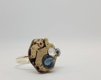 Blue swarovski watch ring