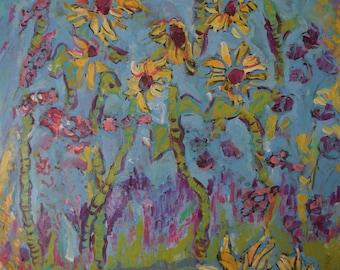 Original Artwork, Acrylic on Canvas, Unframed, 24 x 36, Sunflower garden, Colorful, Floral.
