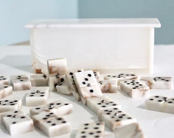 Vintage Alabaster Domino Set / Vintage Dominoes set / Vintage Dominoes /Stone Dominoes / Classy Domino Set / Vintage Domino Set