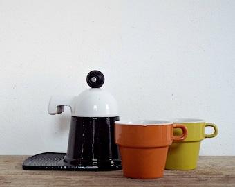 ITALIAN COFFEE MAKER - small espresso coffee machine, black white, moka espresso cappuccino, set of 2 coffee cups, breakfast, made in Italy