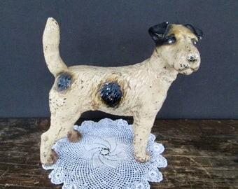 Vintage Cast Iron Hubley Wire Haired Fox Terrier Dog Doorstop.