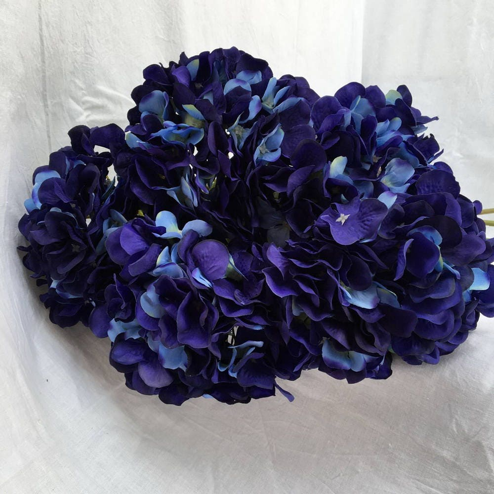 10 pcs silk hydrangea navy blue wedding flowers tall wedding. Black Bedroom Furniture Sets. Home Design Ideas