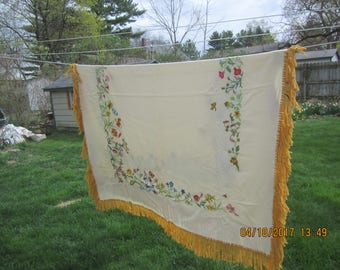 Gorgeous Vintage Crewel Tablecloth Colorful Floral Border Handmade