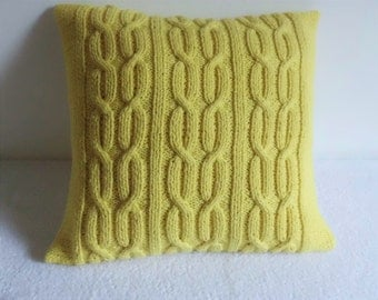 Lemon Cable Knitted Pillow Cover 16x16, Yellow Pure CottonThrow Pillow, Decorative Pillow, Cable Knit Pillow Cover, Knit Pillow Case