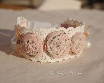 Beautiful blush pink collar for dog. cute weddings dog collar, handmade dog collar,dog birthday gift,dog wedding collar,cute gift for dog