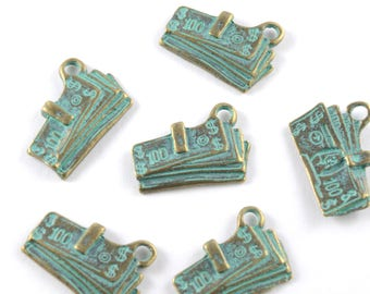 Dollar Bill Charms, Bronze Patina - 5 pieces (Q142B)