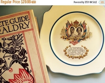30% Off Vintage English Royalty Plate, Queen Elizabeth, King George VI, Union Jack, Canadian American Flag, Perfect for The Crown Tea Party,