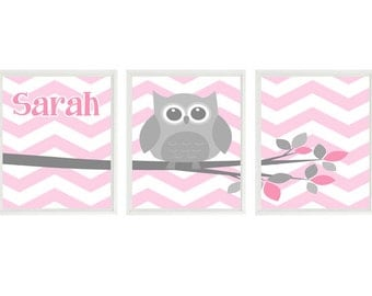 Owl Nursery Art, Chevron Owl Print, Baby Girl Nursery, Pink, Gray Nursery, Personalized, Name Art, Girl Room Art, Owl Playroom, Girl Art