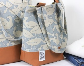 Linen and leather tote bag, Tan leather and linen tote bag, Leather bottom tote bag, Blue bird design linen bag, Blue bird design linen tote