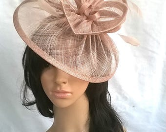 Oyster pink Fascinator ..Sinamay and  feather Fascinator...Gemma