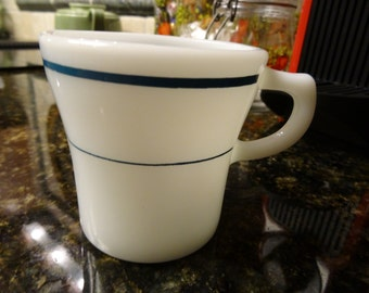 Anchor Hocking mug/cup with 2 green stripes