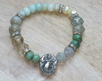 ON SALE Boho Chic Semi Precious Gemstone and Czech Glass Mermaid Stretch Bracelet