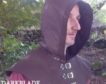 Brown Leather Hood or Cowl for Larp, Pagan  or Cosplay