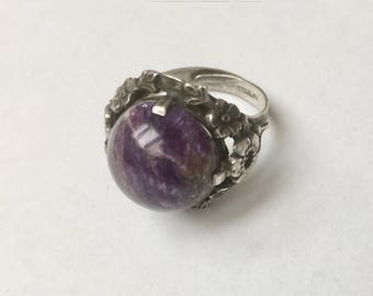 vintage sterling and charoite flower ring, adjustable