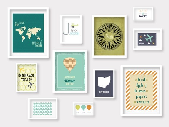 Gallery Wall Prints travel gallery wall nursery prints, travel nursery decor