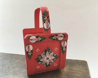 Swedish Vintage Wicker basket Folk art woven basket Handpainted floral basket Letter holder