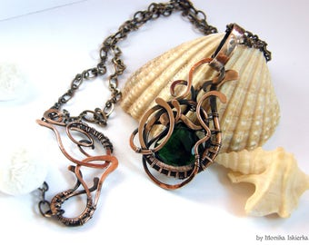 Phiala- wire wrapped necklace, quartz, copper, handmade