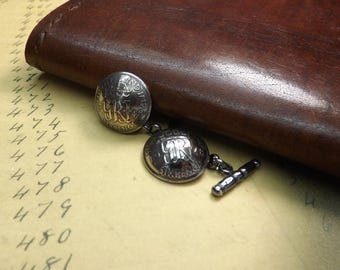 Genuine 1948 Sixpence Coin Domed Cufflinks With Soldered Sterling Silver Chain Backs 69th Birthday Gift