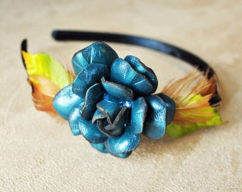 Leather Flower & Bird Feather Headband - FREE shipping in US