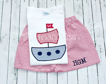 Pirate Ship Tshirt and Shorts Set, Personalized Pirate Ship Stitch & Matching Gingham Bottoms,  Pirate Ship Tshirt,