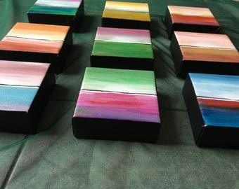 Small Paintings, Set of 9 canvases, small wall Art, Seascape small painting, Acrylic Small Art, Mutiple paintings set, set of small painting