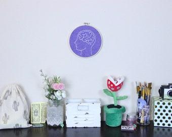 Head Space Embroidery Hoop, Brain Embroidery Hoop