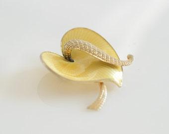Albert Scharning Yellow Enamel Brooch, Norway, Scandinavian Jewelry- ASCH, Yellow Pin,