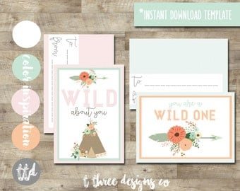 BOHO, Tribal Valentines, Tween Valentine, Printable Valentine Cards, kids valentines, tween valentines cards, tee pee valentine, wild one