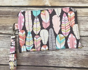 Feathers Wristlet-Cosmetic Bag-Travel Pouch-To Go Bag