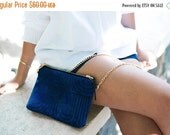 Blue Evening Clutch Purse with Gold Chain Strap, Printed Small Shoulder Bag, Vegan Bag, Blue Evening Purse, Faux Suede Bag, Christmas Gift