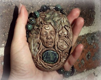 STARGODDESS  Kambaba Jasper Crone New Growth Necklace Hand Sculpted Ancestors Nature Spirits