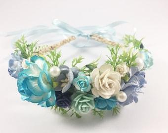 2 Pieces Bridal Prom Hairpiece bracelet Girlfriend headband Weddings Accessories Paper flower crown Boho beach Summer HBB-01