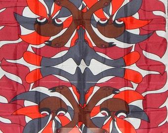 Kenojuak Ashevak Print on a Scarf. red and Black. Gorgeous.  About 4x4