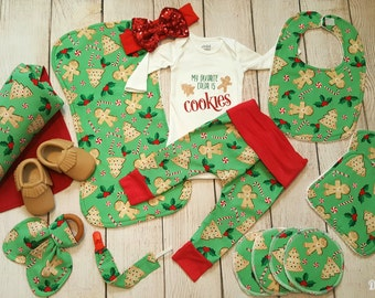 Baby Girl Christmas Gift Set- Christmas Cookies, Baby Pants, Swaddling Blanket, Burpcloth, Bib, Teething ring, Washcloths