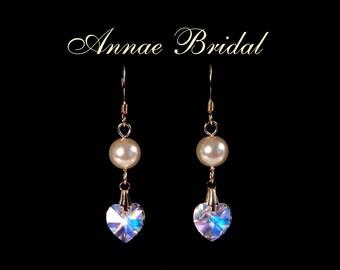"""Crystal hearl drop earrings, bridal, wedding jewelry, crystal Aurora Borealis, bridesmaid earrings, """"True Love"""" earrings"""