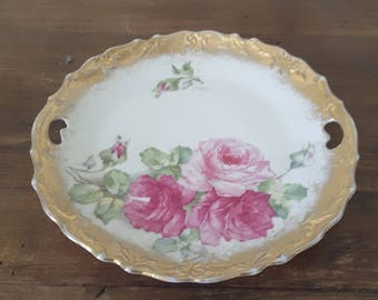Vintage Antique Plate Shabby Chic Pink Roses Heavy Gold Gilding Cottage Chic