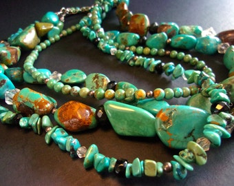 Natural Turquoise 4 Multi Strand Sterling Necklace, Crystal Beads, Chunky, Vintage