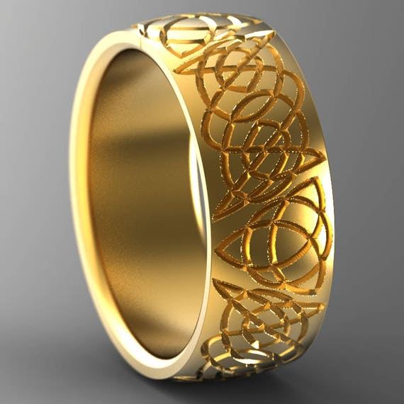 Celtic Wedding Band Ring With Trinity Knot Design in 10K 14K 18K Gold, Palladium or Platinum, Made in Your Size CR-745