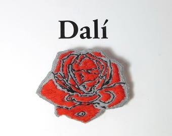 Salvador Dali brooch - Flower brooch - Rose Hand Embroidered pin - Vegan Felt brooch - Wearable art brooch - Meditative rose Jewelry