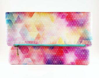 Geometric Clutch Purse, Foldover Clutch, Handbag, Gift For Her, Gift For Teen, Birthday Gift