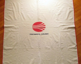 Vintage Circa 1970s Continental Airlines 100% Wool Blanket Made by Pendleton Woolen Mills Continental Logo & Stitched Hems